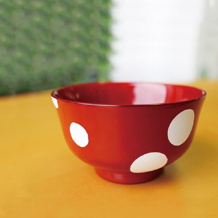 木製くりぬき羽反型汁椀(布貼り)水玉Ver.